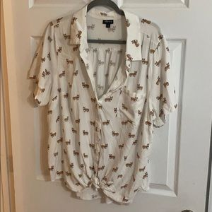 Button down Corgi shirt